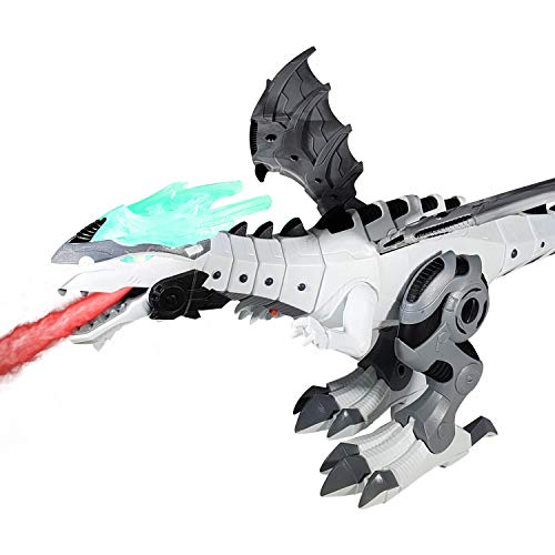 New! Premium Dragon Toy / Dinosaur Toy for Kids - Battery Operated Flying Dragon | Dual Play Modes | Breathing Fire (Mist), Walking and Roaring | Wings and Tail Swing (Colors Vary, Age 3+) -