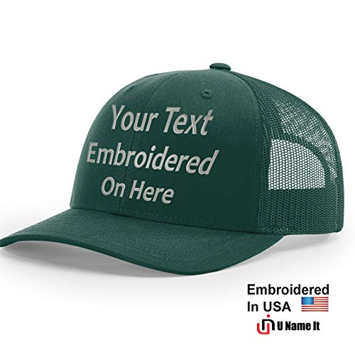(Custom Richardson 112 Hat with Your Text Embroidered Trucker Mesh Snapback Cap (Adjustable Snapback Solid Colorway, Dark Green) )