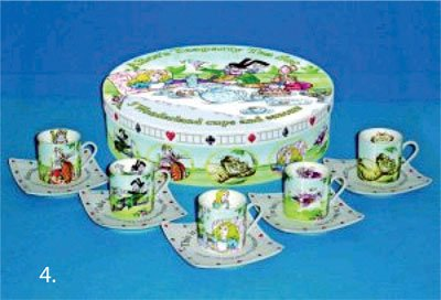 Paul Cardew Teapot - Alice In Wonderland Tea Set 5 Cups and Saucers 3oz each Retired pattern