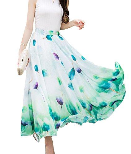 Afibi Women Full/Ankle Length Blending Maxi Chiffon Long Skirt Beach Skirt (XX-Large, Design P)