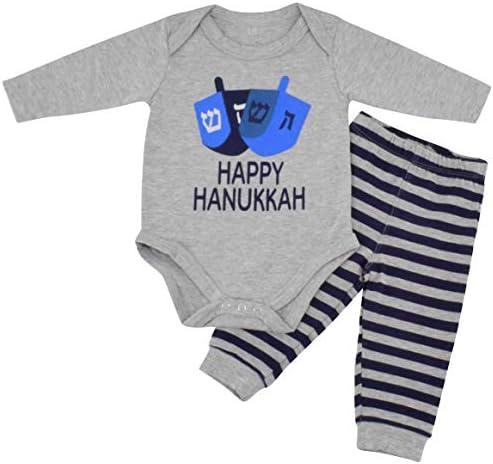 2 Pcs Baby Boys' First Hanukkah Hat /& Bib Set White//light Blue Color New