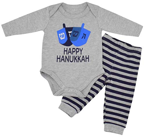 Unique Baby Boys Happy Hanukkah Layette Outfit Set Cap (Newborn) Grey ()