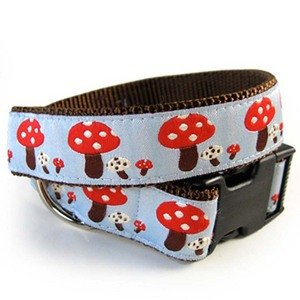 Toadstools Dog Collar-S-SKY_BLUE