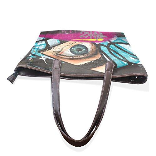 COOSUN Womens Eye Art Pu Leder Tote Handtasche Schultertasche M