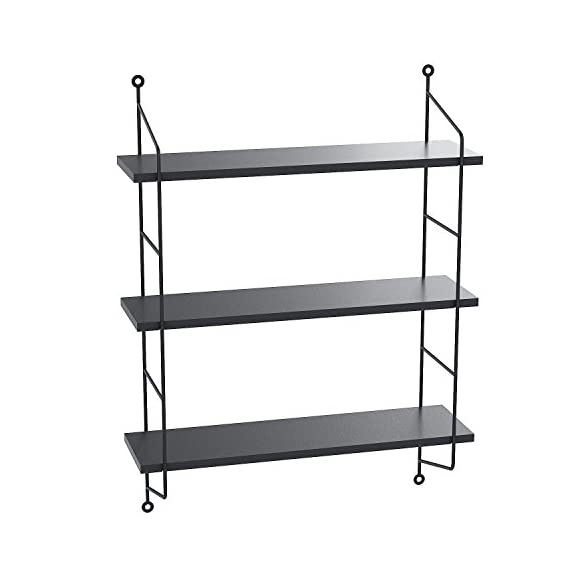 Floating Shelves Wall Mounted, Industrial Metal Frame Wood Wall Storage Shelves for Bedroom, Living Room, Bathroom, Kitchen, Office and More, 3 Tier(Black) - ♬➧Quite Deeper than Other Display Shelves: 19x 6 x 25 inches, and each tier 8 inch in deep, Good choice for Bigger CD and Books. Each Shelf can hold 50 lbs.【We promise 30 days Money-Back Guarantee, Worry-Free 36 Month Quality Warranty and friendly customer service for our products.】 ♬➧Functional Storage shelves: The floating shelves are composed of nature wood boards and metal brackets, fashionable and practical, useful for adding extra storage space to store and reorganize small items in your bathroom, bedroom, living room, kitchen, and more. A nice way to clear up the clutter. ♬➧Urban Chic and Useful Wall Shelves: Designed in urban chic style with wood and industrial metal brackets, the shelves are the perfect decoration to match Urban and industrial design elements. These shelves make a unique and decorative way to add storage space. - wall-shelves, living-room-furniture, living-room - 41qhXMiHJTL. SS570  -