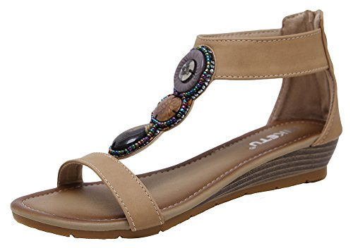 AGOWOO Womens Gladiator Ankle Strap Wedge Sandals Beaded Sandles Apricot 5.5 B(M)