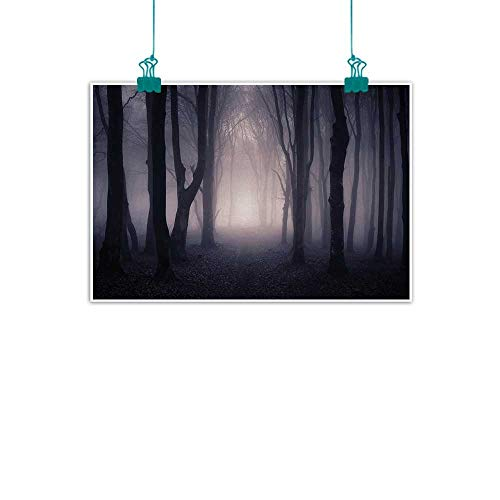 Unpremoon Forest,Modern Wall Art Path Through Dark Deep in Forest with Fog Halloween Creepy Twisted Branches Picture W 28