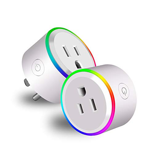 Innens Wifi Smart Plugs that Work with Alexa, Google Home and IFTTT, Mini Wireless Smart Socket Outlets, Timing Function, APP Remote Control, No Hub Required (With RGB Light - 2 Pack) -