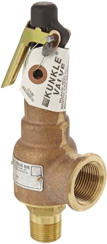 Kunkle 6010EDV01-KM0025 Bronze ASME Safety Relief Valve for Air/Gas, Viton Soft Seat, 25 Preset Pressure, 3/4