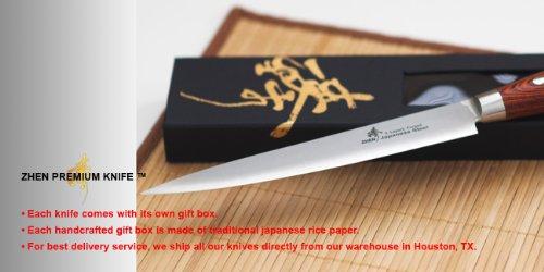 ZHEN Japanese VG-10 5-Piece 3-Layer Forged Steel Cutlery Knife Set, Pakka Wood by ZHEN (Image #12)