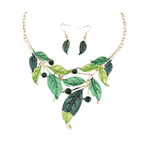 ZaH Boho Jewelry Set Pentant Necklace and Earrings for Women Girls Vintage Gift Wedding Party Green Leaf by ZaH