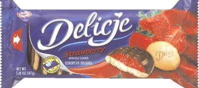 Kraft Delicje Strawberry (147g/5.18 Oz.) (Strawberry Jaffa Cake Style Biscuits from Poland) ()