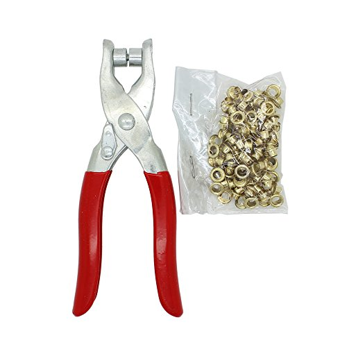 Eyelet Plier (Mangocore New DIY Grommet Eyelet Pliers Shoes Eyes Clamp With about 100 Eyelets For Fabric,Paper,Bags)