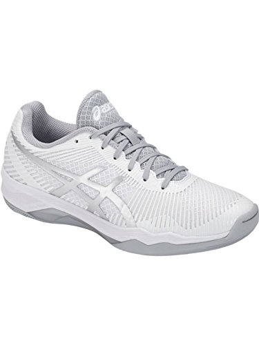 Image of ASICS Women's Volley Elite FF MT Volleyball Shoes, White/Silver, Size 11.5