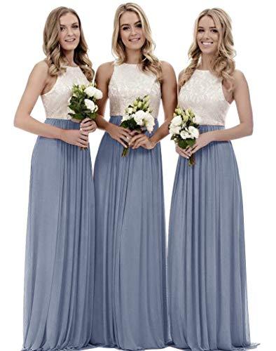 Women's A Line Top Lace Bridesmaid Dress Long Chiffon Wedding Party Gown Dusty Blue Size 8