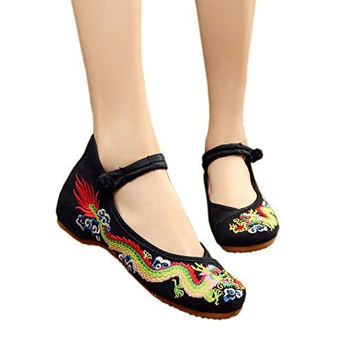 [Traditional Dragon Embroidery Flats Single Shoes Fashion Woman Embroidered Dance Shoes Chinese Antiquity Girl Getting Married Shoes by Elaiya] (Child Square Dance Costume)