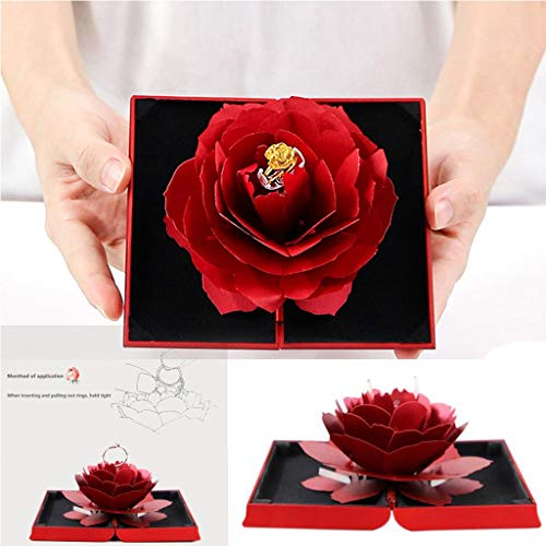 Topiary Sunflower - ZTTONE Rose Ring Torage, 3D Pop Up Rose Ring Box Wedding Engagement Jewelry Storage Holder Case Bump (Red)