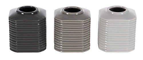 (Deco 79 87741 Ribbed Octagonal Ceramic Vases (Set of 3), 5