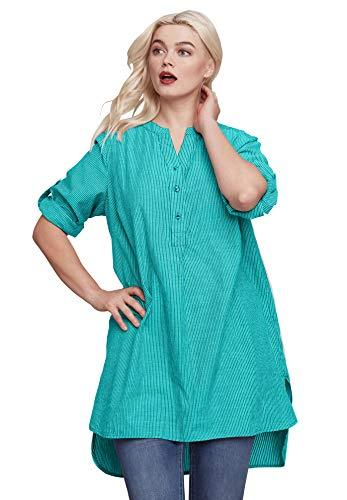 Ellos Women's Plus Size Striped Henley Tunic - Waterfall Stripe, - Shirt Sleeve Ladies Long Henley