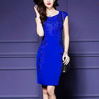 PU&PU Robe Aux femmes Gaine Simple,Imprimé Col Arrondi Au dessus du genou Polyester , blue , xl