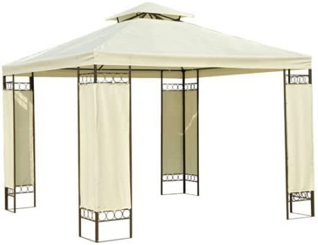 Outsunny Carpa 3x3m Color Crema Estructura Metal Gazebo Cenador ...