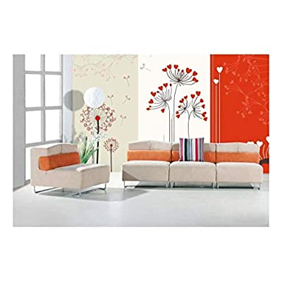 Fun Bright Orange Floral Dandelions with Hearts on a Striped Paneled Background - Wall Mural, Removable Sticker, Home Decor - 100x144 inches