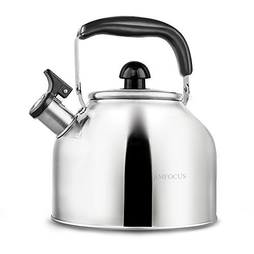 Whistling Tea Kettle Surgical Stainless Steel Teapot for Stove Top - Thin Base - Fast Boil - 3.7L/4Qt - by AMFOCUS