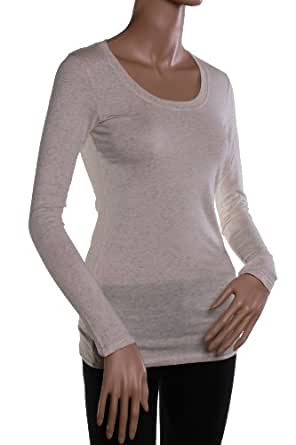 Active Basic Women's Basic Scoop Neck Tops,Small,Oat
