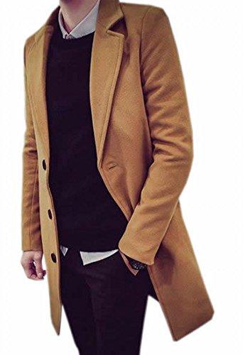 Papijam Men's Leisure Sliod Thicken Long Pea Coat Khaki L