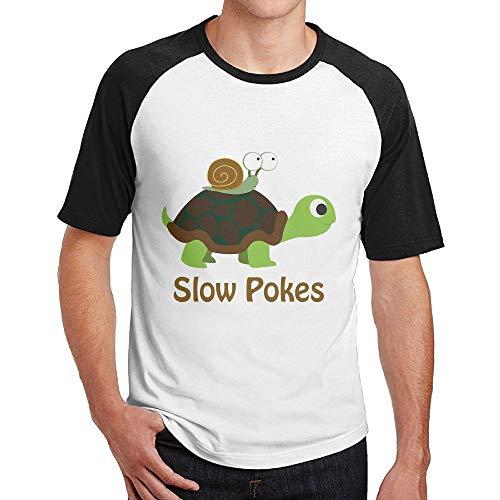 Shenigon Men's Slow Pokes - Turtle and Snail Short Sleeve Baseball Tee Raglan T-Shirt S Black