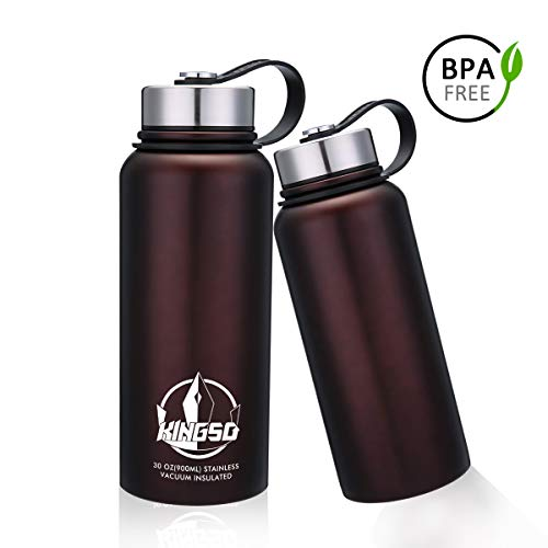 KINGSO Vacuum Insulated Stainless Steel Water Bottle 32 oz Wide Mouth Double Wall Sports Water Bottles Leak Proof Bpa Free Coffee Color