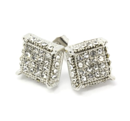 Mens Silver Tone Clear Cz Cube Iced Out - Mens Earrings Cube