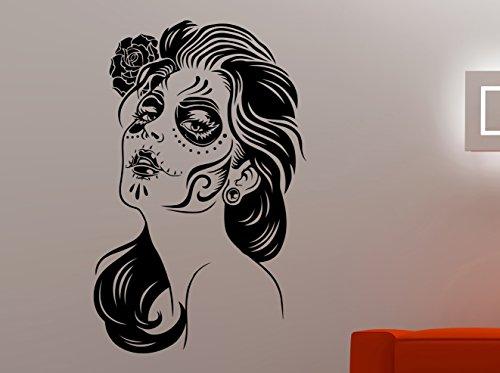 Woman Face Sugar Skull Wall Sticker Vinyl Decal Mexican Makeup Art Home Interior Decorations Living Room Bedroom Beauty Salon Decor 2wss