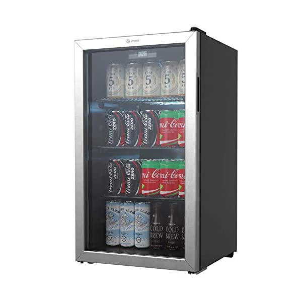 Vremi Beverage Refrigerator and Cooler – 110 to 130 Can Mini Fridge with Glass Door for Soda Beer or Wine – Small Drink Dispenser Machine for Office or Bar with Removable Shelves and Adjustable Feet