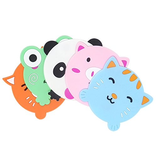 Coasters Cup Mat - Honbay 5PCS Cute Colorful Animal Silicone Rubber Coasters Cup Mats