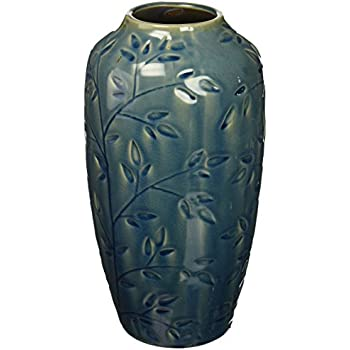 Hosley's Blue Ceramic Vase with Leaf Branches - 11