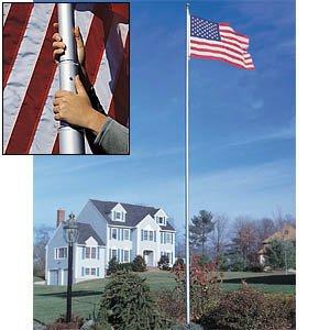 20' White SunSetter Flagpole by Sunsetter