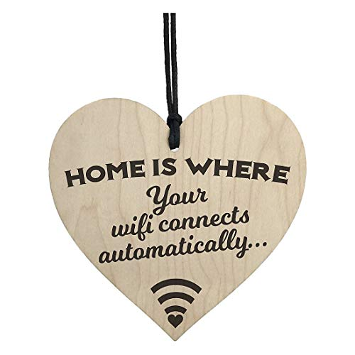 Plaques & Signs - Home Is Where Wifi Novelty Wooden Hanging Heart Plaque House Funny Wall Sign - Wifi Wooden Sign Wood Free Purple & Wifi Router Sticker Wi Sign Wall Vinyl Wall Sign