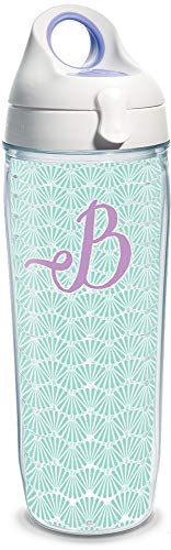 Tervis 1316846 INITIAL-B Teal Scallop Insulated Tumbler with Wrap and Lid, 24 oz Water Bottle - Tritan, Clear ()