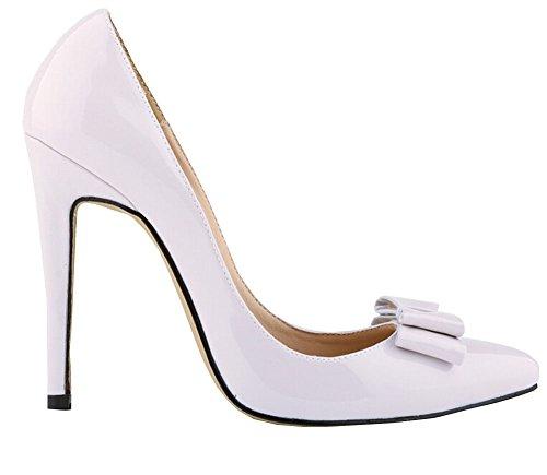 große Größe 11cm hohen Absatz Spitzschuh Frauenwinter bowtie Partei Pumpen Klassiker spool heels Süßigkeiten Schuhe Pumpe weiß