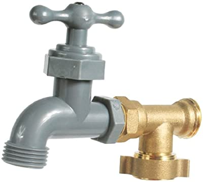 Camco 90 Degree Water Faucet - Provides Extra Outside Water Source by Connecting to Your RV's Fresh Water Inlet, Lightweight Design, Lead Free (22463)