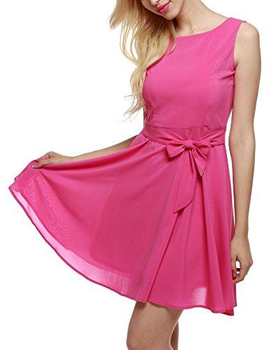 Dozenla Robe Plissée, Robe Plissée Pour Les Femmes, Robes Décontractées Pour Les Robes Femmes Rose Rouge