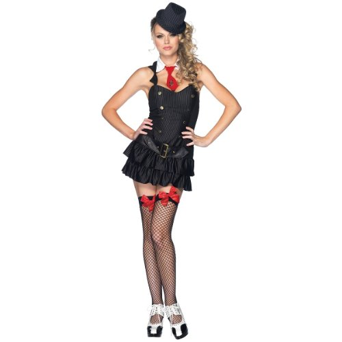 Bonnie Clyde Costume (Leg Avenue Women's Mafia Princess Costume, Black,)