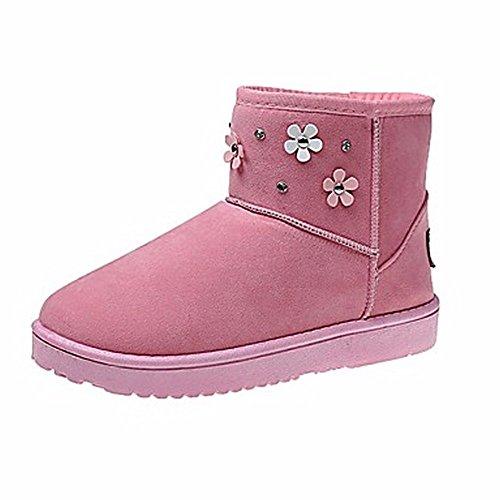Tenue Plat Bout Talon Pour D'hiver Femmes Chaussures Gris Rond Neige Rose Bottes Pink Zhudj Une Noir Rhinestone Rouge Décontractée 5xn80wq7Sn