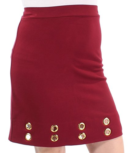 Kensie Grommet Twill Pencil Skirt Red XL