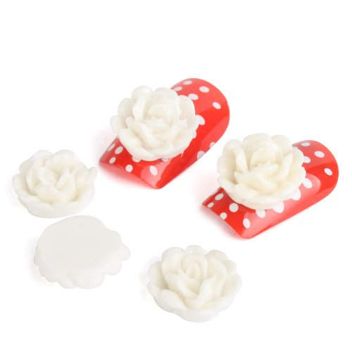 YESURPRISE 20pcs Acrylic 3D Big Flower Stickers Beads Nail Art Tips DIY Decorations 10mm White