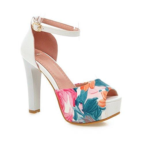 Amoonyfashion Donna Fibbia Peep Toe Tacchi Alti Sandali Di Colore Blu Assortiti