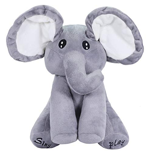 AnyBack Peek As Boo Elephant Electronic Stuffed Plush Animals Pets Toys, Electric Cute Plush Mimicry Pet Toy Peekaboo Elephant Peek an A Boo Stuffed Musical Toys for Kids Toddlers Gray White Pack 1