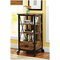 Better Homes and Gardens Rustic Country Tech Pier with Media Storage Drawer, Antiqued Black/Pine Finish