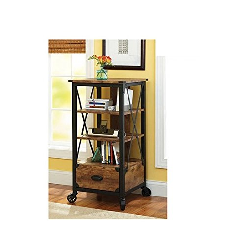 Media Pier Storage (Better Homes and Gardens Rustic Country Tech Pier with Media Storage Drawer, Antiqued Black/Pine Finish)